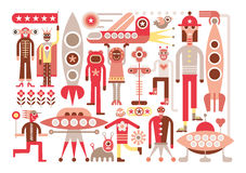 Humans and Aliens Stock Images