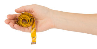 Humans arm holding tape measure Stock Photography