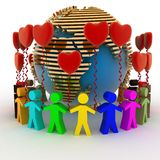 Humans with balloons in the shape of a heart and globe Royalty Free Stock Photography