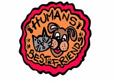 Humans best friends colorful Royalty Free Stock Image