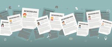 Humans Bewerbungen. German text Bewerbung, translate Application Stock Photography