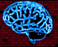 Humans brain and binary code. Illustration of the humans brain and binary code Stock Images