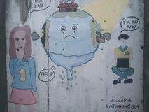 Humans and  a crying world in wall painting