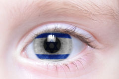 Humans eye with national flag of israel Stock Images