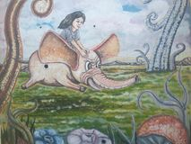 Humans and  flying elephant in wall painting