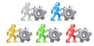 Humans and Gear. People and Gear. Complete the Process. Group of people in different colors. Vector Illustration Royalty Free Stock Photos
