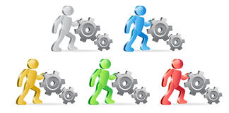 Humans and Gears. People and Gears. Complete the Process. Group of people in different colors. Vector Illustration Stock Photos