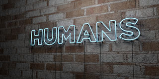 HUMANS - Glowing Neon Sign on stonework wall - 3D rendered royalty free stock illustration Royalty Free Stock Photos