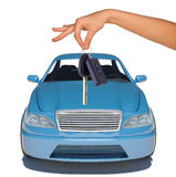 Humans hand with keys and blue car Royalty Free Stock Photo