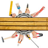 Humans hands holding different tools Royalty Free Stock Images