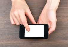 Humans hands holding smartphone Royalty Free Stock Photos