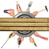 Humans hands holding tools on white Stock Images