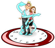 Humans are imprisoned by time (vector) 2. Man and woman in present days are imprisoned and bounded by time like standing on a giant clock and strap by the clock Royalty Free Stock Photos