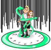 Humans are imprisoned by time (vector). Man and woman in present days are imprisoned and bounded by time like standing on a giant clock and strap by the clock Stock Images