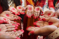 Humans. The indian hands with the aalta !! Incredible india Stock Photography
