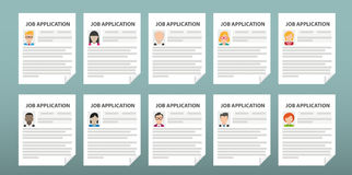 Humans 10 Job Applications. 10 job applications on the green background Stock Photo
