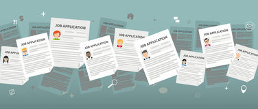 Humans Job Applications. Header with job applications. Application Stock Image