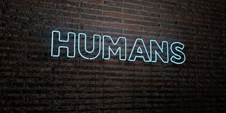 HUMANS -Realistic Neon Sign on Brick Wall background - 3D rendered royalty free stock image Stock Photography