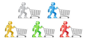 Humans and shopping carts. Isometric humans and shopping carts. Group of people in different colors. Vector illustration Stock Photos