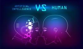 Humans vs Robots stock illustration