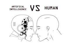 Humans vs Robots vector illustration