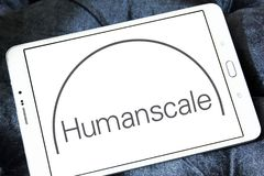 Humanscale manufacturer logo. Logo of Humanscale manufacturer on samsung tablet. Humanscale is the leading manufacturer of ergonomic office tools. From task Royalty Free Stock Image