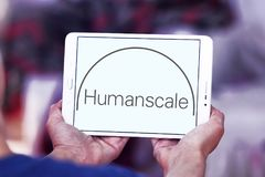 Humanscale manufacturer logo. Logo of Humanscale manufacturer on samsung tablet. Humanscale is the leading manufacturer of ergonomic office tools. From task Stock Images
