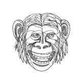 Humanzee Uśmiechnięty Doodle royalty ilustracja