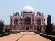 Humayun坟茔,新德里,印度正面图  库存照片