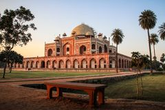 Humayun`s Tomb after sundown, Delhi, India. Humaun`s tomb Maqbaera e Humayun is the tomb of the Mughal Emperor Humayun in Delhi, India. The tomb was commissioned Royalty Free Stock Image