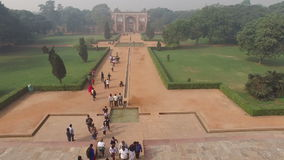 Humayuns tomb garden entrance - India stock video footage