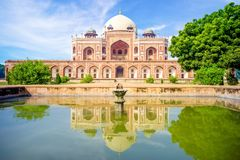 Humayuns Tomb in New Delhi, India. The tomb was commissioned by Humayun`s first wife and chief consort, Empress Bega Begum in 1569-70 Stock Image