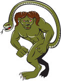 Humbaba Punching Cartoon. Illustration of Humbaba a monstrous giant with head a mountain goat ram and ending in a snake's head punching facing front done in Royalty Free Stock Photo