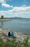 Humber海湾多伦多安大略加拿大海滩视图  库存照片