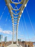 The Humber Bay Arch Bridge. Over the Humber River in Etobicoke near Ontario lake at Toronto, Canada royalty free stock photography