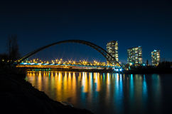 Humber Bay Arch Bridge at night. Night urban landscape with bridge across the river Stock Images