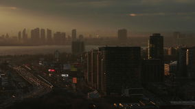 Humber Bay Skyline at Sunset. Sun Setting on the Humber Bay Skyline in Toronto, Ontario stock footage