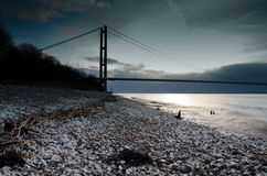 Humber Bridge. Taken early one morning of the Humber Bridge from Hessle Foreshore in East Yorkshire, UK Royalty Free Stock Photos
