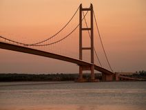 Humber Bridge. Sunset over Humber Bridge in England, United Kingdom Stock Photo