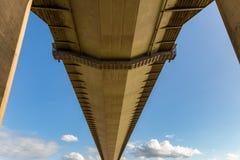 Humber Bridge, East Riding of Yorkshire, UK. Standing under the Humber Bridge in Hessle, East Riding of Yorkshire, UK Stock Image