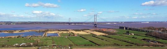 Humber bridge landscape from north Lincolnshire. Humber bridge and the humber estuary landscape from north Lincolnshire Far Ings National Nature Reserve stock images