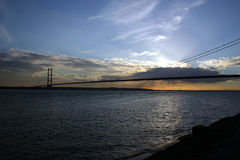 Humber Bridge from the north bank of the river. Stock Photo