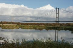 Humber bridge River Crossing Kingston Upon Hull. Humber bridge single span suspension bridge, tole bridge river crossing Humber estuary, Kingston Upon Hull Stock Photography