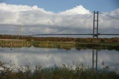 Humber bridge River Crossing Kingston Upon Hull. Humber bridge single span suspension bridge, tole bridge river crossing Humber estuary, Kingston Upon Hull Royalty Free Stock Photos