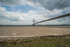 Humber bridge from shore royalty free stock photo