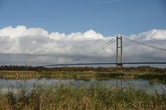 Humber bridge River Crossing Kingston Upon Hull. Humber bridge single span suspension bridge, tole bridge river crossing Humber estuary, Kingston Upon Hull Stock Photos