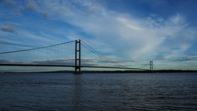 Humber Bridge. From the South in silhouette Royalty Free Stock Images