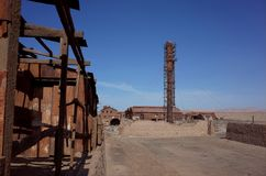 Humberstone Saltpeter Worksm in northern Chile. The abandoned Humberstone saltpeter works. This abandoned nitrate town was extremely important for the early royalty free stock photo