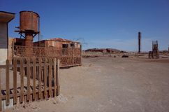 Humberstone Saltpeter Worksm in northern Chile. An eerie street in the abandoned Humberstone saltpeter works. This abandoned nitrate town was extremely important stock photography