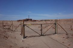 Humberstone Saltpeter Worksm in northern Chile. The Santa Laura refinery in the abandoned Humberstone saltpeter works. This abandoned nitrate town was extremely stock image